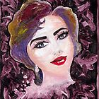 red lips pearl earrings acrylic painting by Noor Moghrabi
