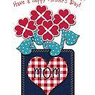 Happy Mother's Day! Gingham Checks, Denim Pocket by Cherie Balowski
