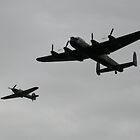 Lancaster and Spitfire over Henstridge by lezvee
