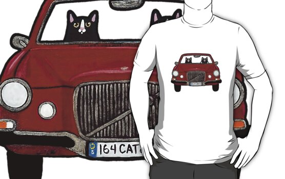 Cats in a Maroon Volvo by Ryan Conners