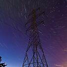Power line and star trails by Gabor Pozsgai