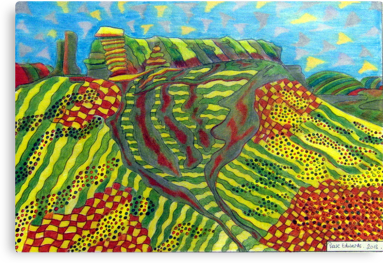378 - MOUNTAIN ABSTRACT - DAVE EDWARDS - COLOURED PENCILS - 2013 by BLYTHART