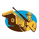 Pressure Washer Cleaner Worker Trailer Retro by retrovectors