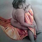 Nude draped in yellow silk by Rachel Greenbank