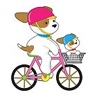 Cute Puppy on Bike by Maria Bell