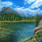 Lake and mountain scene by Marion Yeo