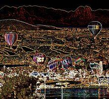 Hot Air Ballons Over Lake Havaus Az by Tina Hailey