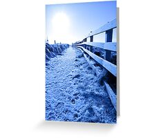snow covered path on cliff fenced walk Greeting Card