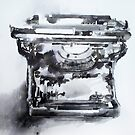 Vintage typewriter - pen & ink wash study by Greg  Walker