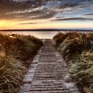 Beach Entrance Escanaba Michigan Sunrise by pictureguy
