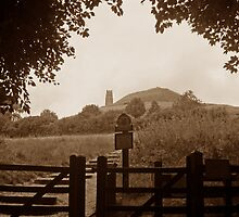 Glastonbury Tor in sepia by buttonpresser
