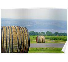 Wine Casks & Bee Hives Above Seneca Lake Poster