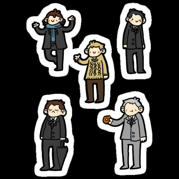 Sherlock Doodle Sticker Set by geothebio