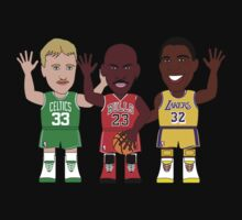 NBAToon of Magic Johnson, MIchael Jordan, Larry BIrd, player of Los Angeles Lakers, Chicago Bulls, Boston Celtics by D4RK0
