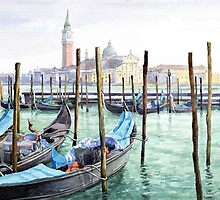 Italy Venice Gondolas Parked by Yuriy Shevchuk