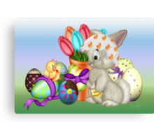 Bunny with lots of chocolate eggs Canvas Print