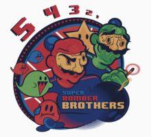 super bomber bros. - mario bomberman mashup Kids Clothes