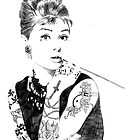 Audrey Hepburn inked by CherriKilljoy