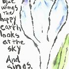 frail blue wings of a crocus -- etegami by Labontea