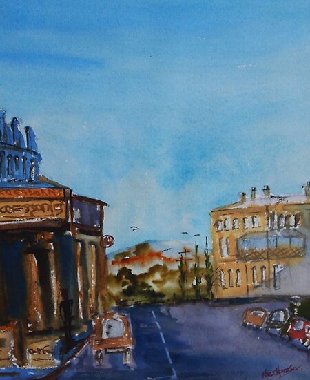 Streetscape Lancefield (watercolour) Victoria Australia by Margaret Morgan (Watkins)