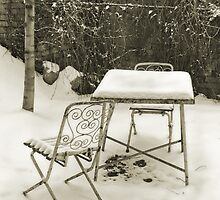Vintage metal chairs covered with snow by wildrain