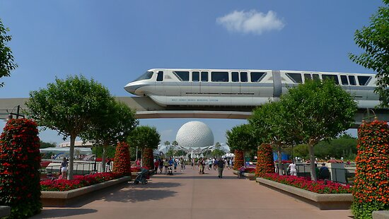 Spaceship Earth & Monorail - Epcot by DrStantzJr