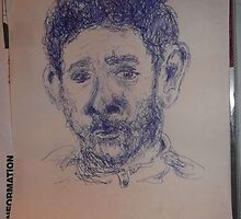 Self-portrait -(270313)- A5 Sketchbook/Blue biro pen by paulramnora