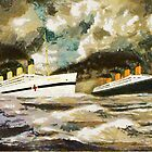 RMS Titanic and HMHS Britannic in the Style of the Masters by Dennis Melling