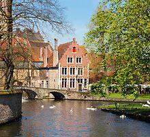 Minnewater in Brugge, Belgium by kirilart