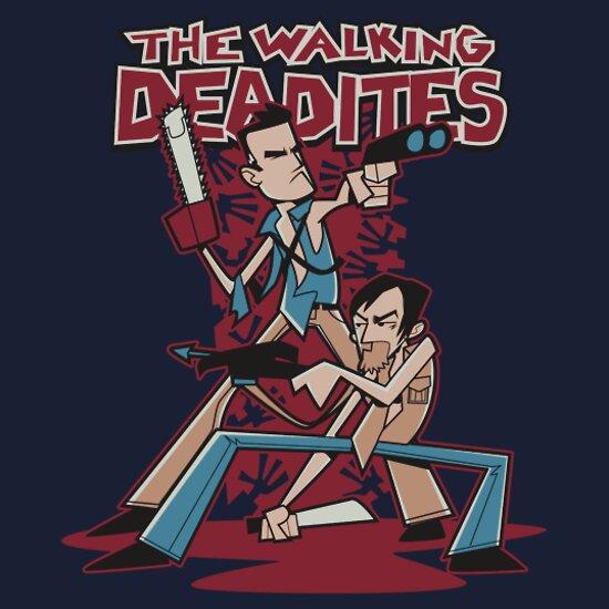 the walking deadites walking dead t-shirt
