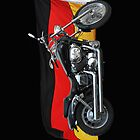 German Flag, Motorcycle Patriotic Design by Val  Brackenridge