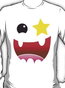 Crazy happy maniac face with stars and teeth  T-Shirt