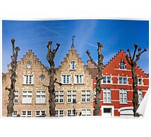Traditional old Belgium House Facades in Bruges Poster