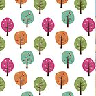 Retro Fall Trees by Lisa Marie Robinson