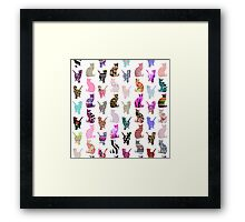 Girly Whimsical Cats aztec floral stripes pattern Framed Print