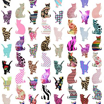 Girly Whimsical Cats aztec floral stripes patternquot; Photographic