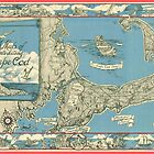 Vintage Map of Cape Cod (1945) by alleycatshirts