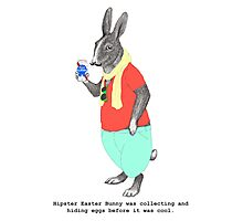 Hipster Easter Rabbit Photographic Print