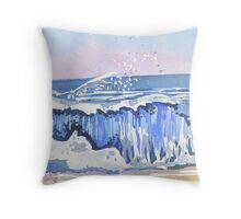 Crushing Waves II, Worthing, West Sussex -2009 Throw Pillow