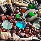 Seaglass Art Prints Coastal Beach Rocks by BasleeArtPrints