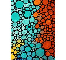 Abstract 3 - Colorful Mosaic Art Aqua Orange Yellow Photographic Print