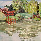 Japanese pond at Brooklyn Botanical gardens   by Caroline  Hajjar Duggan