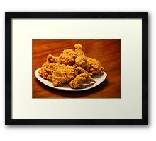 Fried Chicken on Square White Plate Framed Print