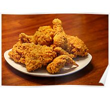 Fried Chicken on Square White Plate Poster