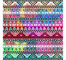 Neon Pink Purple Bright Andes Abstract Aztec Pattern Photographic Print