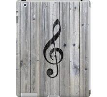 Vintage black music note Treble Clef gray wood iPad Case/Skin