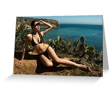 Sexy bikini on bird view location of CA coastline Greeting Card