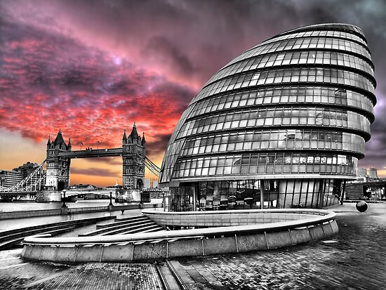 London Skyline - City Hall and Tower Bridge BW - HDR by Colin J Williams Photography