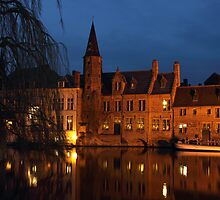 Bruges Rozenhoedkaai Night Scene by kirilart