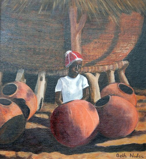 Owambo girl with grain store and beer pots by Beth Neden